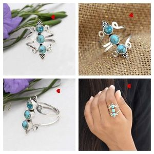 Copper Turquoise Blue Ring 925 Sterling Silver